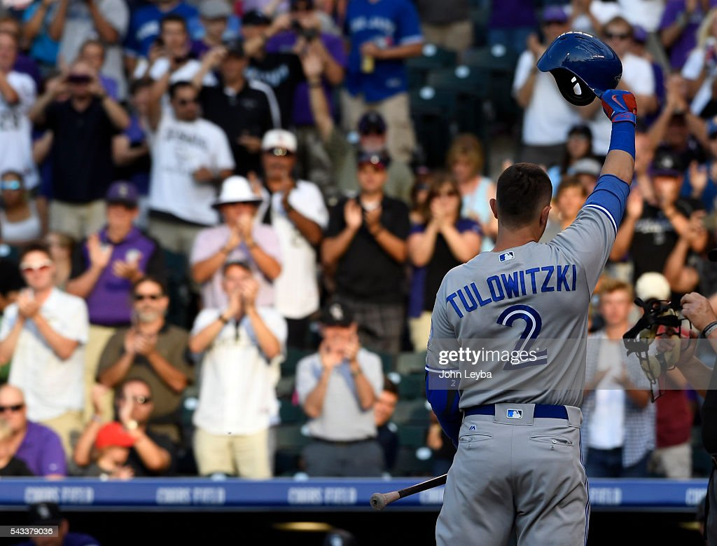 Toronto Blue Jays shortstop <a gi-track='captionPersonalityLinkClicked' href=/galleries/search?phrase=Troy+Tulowitzki&family=editorial&specificpeople=757353 ng-click='$event.stopPropagation()'>Troy Tulowitzki</a> (2) acknowledges the crowd after a standing ovation as he steps in the batters box during the second inning against the Colorado Rockies June 27, 2016 at Coors Field.