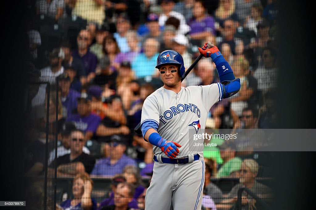 Toronto Blue Jays shortstop <a gi-track='captionPersonalityLinkClicked' href=/galleries/search?phrase=Troy+Tulowitzki&family=editorial&specificpeople=757353 ng-click='$event.stopPropagation()'>Troy Tulowitzki</a> (2) gets in some practice swings in the on deck circle during the second inning agains the Colorado Rockies June 27, 2016 at Coors Field.