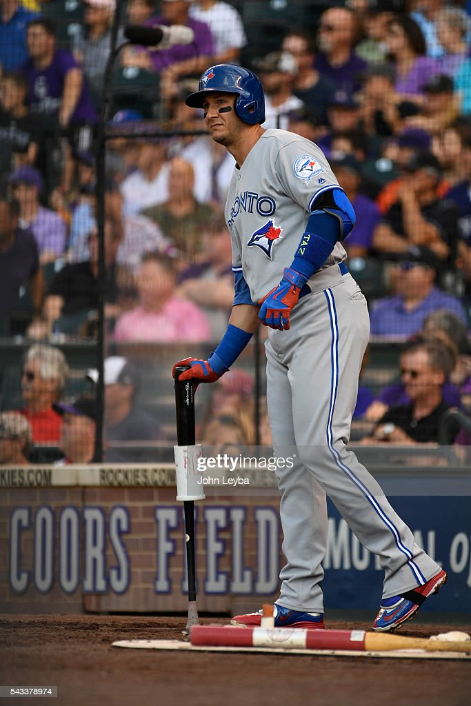 Toronto Blue Jays shortstop <a gi-track='captionPersonalityLinkClicked' href=/galleries/search?phrase=Troy+Tulowitzki&family=editorial&specificpeople=757353 ng-click='$event.stopPropagation()'>Troy Tulowitzki</a> (2) heads to the batters box during the second inning against the Colorado Rockies June 27, 2016 at Coors Field.