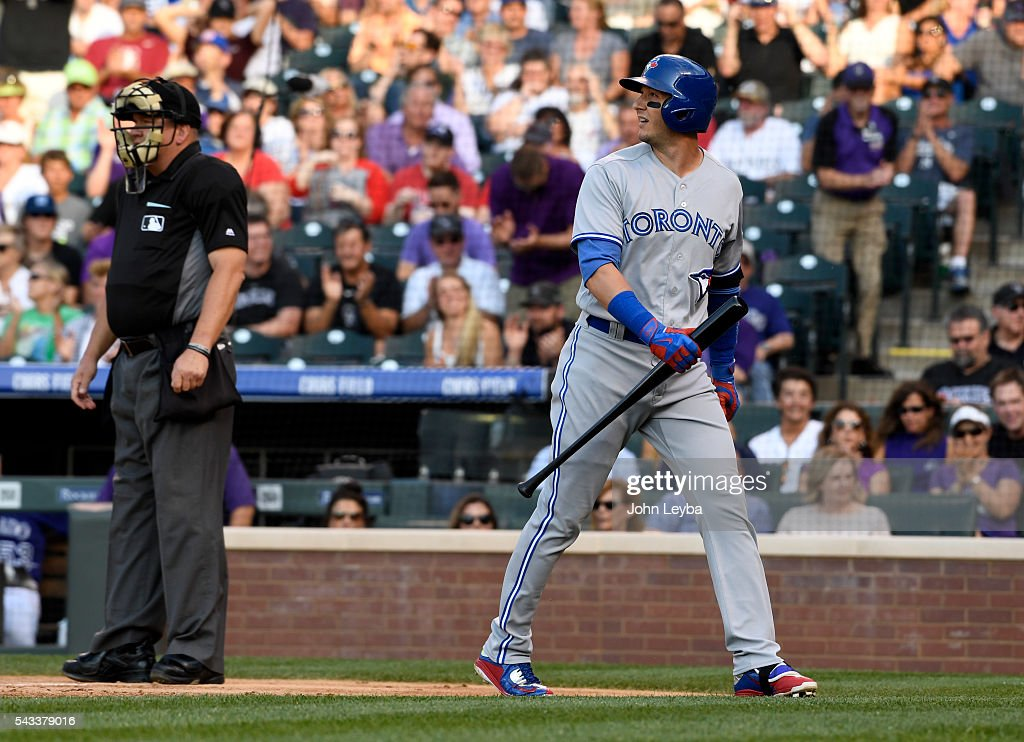 Toronto Blue Jays shortstop <a gi-track='captionPersonalityLinkClicked' href=/galleries/search?phrase=Troy+Tulowitzki&family=editorial&specificpeople=757353 ng-click='$event.stopPropagation()'>Troy Tulowitzki</a> (2) looks back to the field after striking out during the second inning against the Colorado Rockies June 27, 2016 at Coors Field. (Photo By John Leyba/The Denver Pos