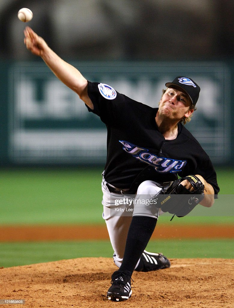 Toronto Blue Jays starter Casey Janssen pitches during their 3-0 victory over the Los Angeles Angels of Anahiem at Angel Stadium in Anahiem, Calif. on Wednesday, May 17, 2006. Janssen (2-3) pitched eight scoreless innings and allowed two hits in the win.