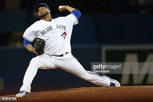 TORONTO ON SEPTEMBER 12 Toronto Blue Jays starting pitcher Francisco Liriano pitches as the Toronto Blue Jays play the Tampa Bay Rays in Toronto...