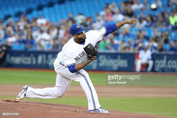 TORONTO ON SEPTEMBER 12 Toronto Blue Jays starting pitcher Francisco Liriano throws as the Toronto Blue Jays play the Tampa Bay Rays in Toronto...