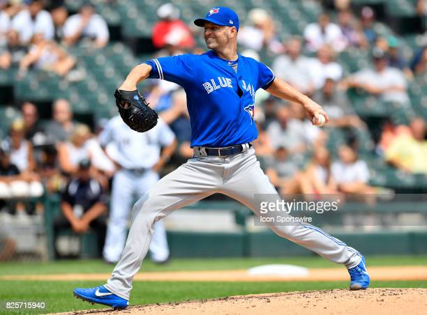 Toronto Blue Jays starting pitcher JA Happ pitches the ball during the game between the Toronto Blue Jays and the Chicago White Sox on August 2 2017...