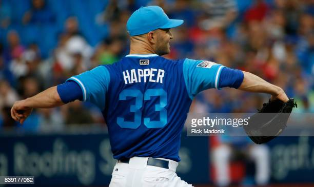 Toronto Blue Jays starting pitcher JA Happ works from the mound Toronto Blue Jays Vs Minnesota Twins in MLB regular season play at Rogers Centre in...