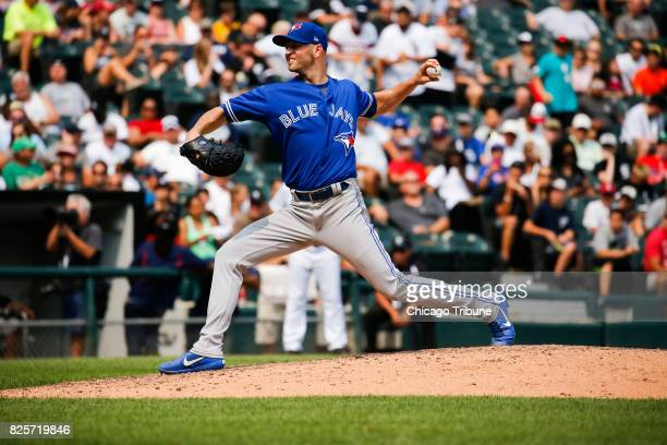 Toronto Blue Jays starting pitcher JA Happ works in the seventh inning against the Chicago White Sox at Guaranteed Rate Field in Chicago on Wednesday...
