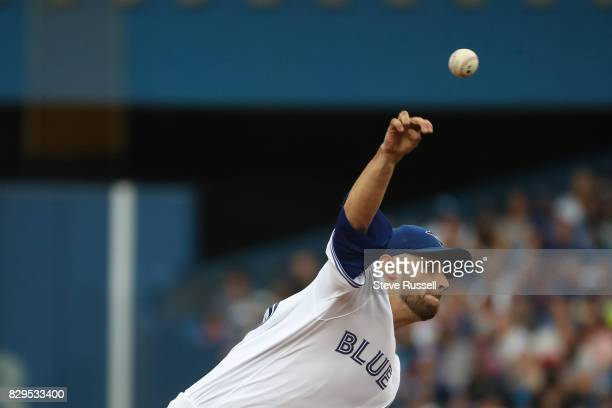 TORONTO ON AUGUST 10 Toronto Blue Jays starting pitcher Marco Estrada as the Toronto Blue Jays play the New York Yankees at the Rogers Centre in...