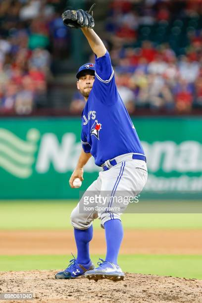 Toronto Blue Jays Starting pitcher Marco Estrada winds up for a pitch during the MLB game between the Toronto Blue Jays and Texas Rangers on June 19...