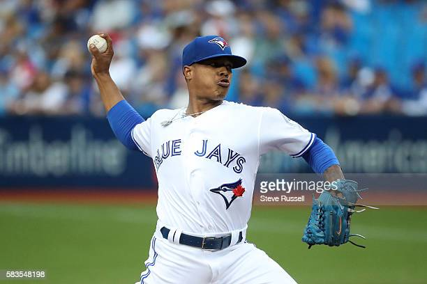 TORONTO ON JULY 26 Toronto Blue Jays starting pitcher Marcus Stroman as the Toronto Blue Jays play the San Diego Padres at the Rogers Centre in...