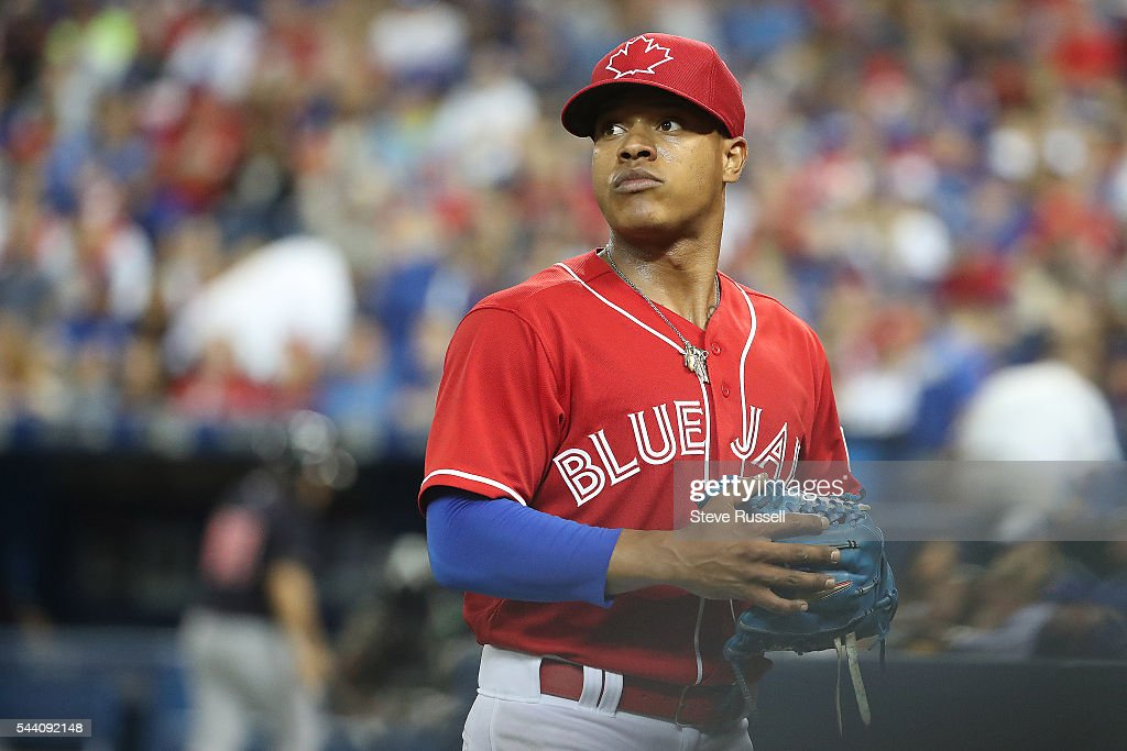 TORONTO, ON- JULY 1 - Toronto Blue Jays starting pitcher Marcus Stroman gets the start as the Toronto Blue Jays play the Cleveland Indians on Canada Day at the Rogers Centre in Toronto. July 1, 2016.