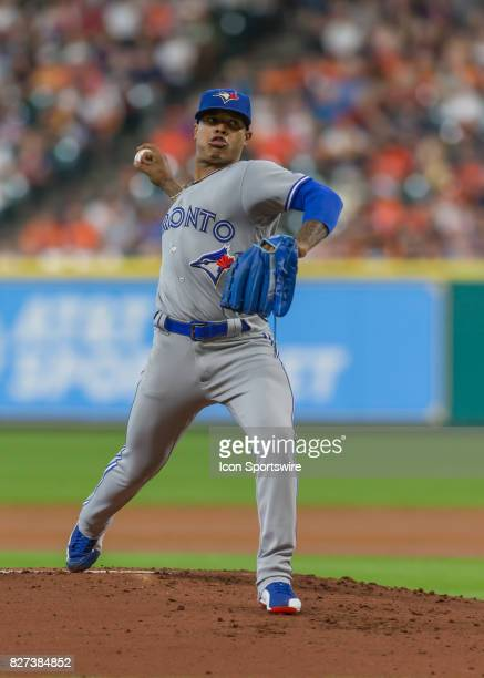 Toronto Blue Jays starting pitcher Marcus Stroman prepares to throw a pitch during the MLB game between the Toronto Blue Jays and Houston Astros on...