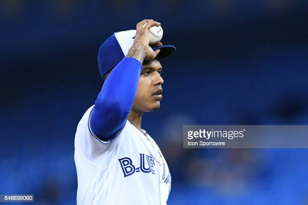 Toronto Blue Jays Starting pitcher Marcus Stroman reacts during the MLB regular season game between the Toronto Blue Jays and the Baltimore Orioles...