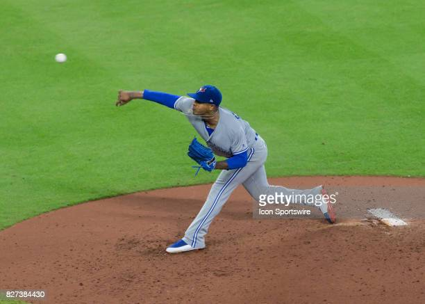 Toronto Blue Jays starting pitcher Marcus Stroman throws a pitch during the MLB game between the Toronto Blue Jays and Houston Astros on August 6...