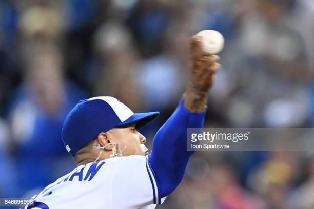 Toronto Blue Jays Starting pitcher Marcus Stroman throws a pitch during the MLB regular season game between the Toronto Blue Jays and the Baltimore...
