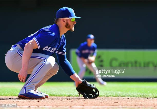 Toronto Blue Jays Third base Josh Donaldson gets into position during a MLB game between the Minnesota Twins and Toronto Blue Jays on September 17...