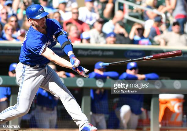 Toronto Blue Jays Third base Josh Donaldson loses his grip on his bat sending it flying during a MLB game between the Minnesota Twins and Toronto...