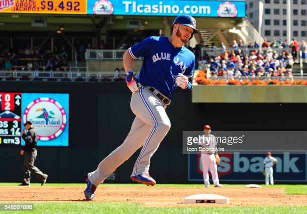 Toronto Blue Jays Third base Josh Donaldson rounds the bases after hitting his second solo home run of the game during a MLB game between the...