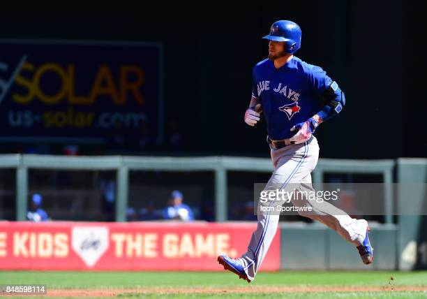 Toronto Blue Jays Third base Josh Donaldson rounds the bases after his solo home run in the bottom of the 1st during a MLB game between the Minnesota...