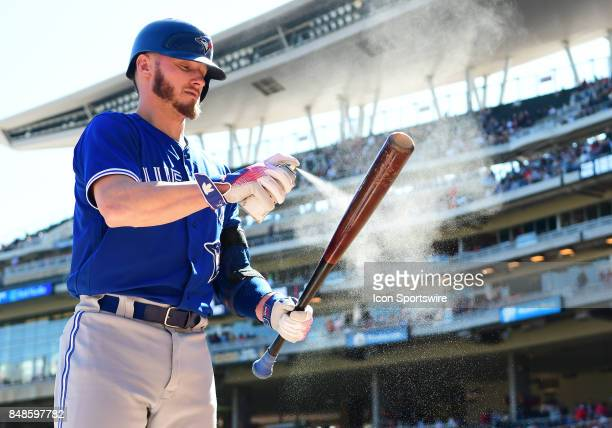 Toronto Blue Jays Third base Josh Donaldson sprays his bat during a MLB game between the Minnesota Twins and Toronto Blue Jays on September 17 2017...