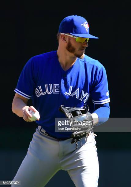 Toronto Blue Jays Third base Josh Donaldson throws to 1st during a MLB game between the Minnesota Twins and Toronto Blue Jays on September 17 2017 at...