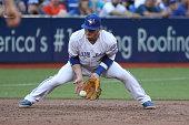 TORONTO ON JULY 25 Toronto Blue Jays third baseman Josh Donaldson makes a play at third base as the Toronto Blue Jays play the San Diego Padres at...