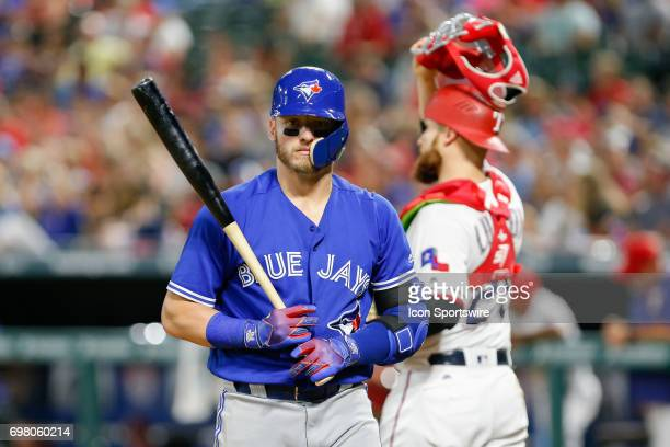 Toronto Blue Jays third baseman Josh Donaldson reacts after striking out during the MLB game between the Toronto Blue Jays and Texas Rangers on June...