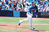 TORONTO ON JUNE 14 Toronto Blue Jays third baseman Josh Donaldson sprints down the line after hitting a double as the Toronto Blue Jays play an...