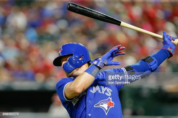 Toronto Blue Jays third baseman Josh Donaldson warms up on deck during the MLB game between the Toronto Blue Jays and Texas Rangers on June 19 2017...