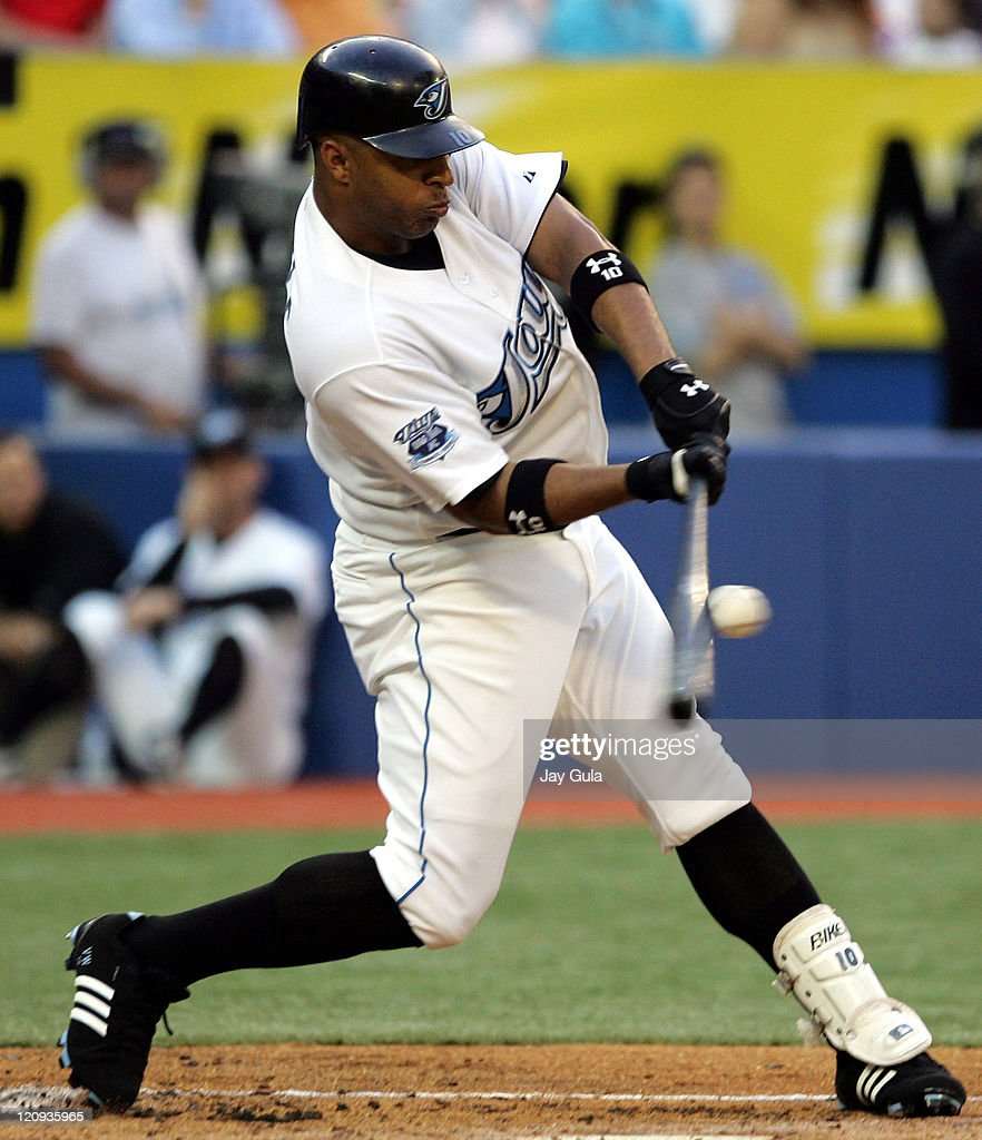Toronto Blue Jays Vernon Wells connects on a pitch against Cleveland Indians during game at the Rogers Centre on August 26 2005