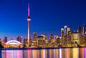 City of Toronto CN Tower Blue Jays baseball club stadium at night Lake Ontario Canada