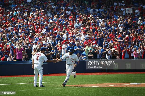 Toronto Canada August 30 Toronto Blue Jays catcher Russell Martin runs in a homer in the 4th inning of MLB action against the Detroit Tigers in...
