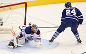 Toronto Canada February 7 In third period action Toronto Maple Leafs center Peter Holland scores the final leaf goal of the night on Edmonton Oilers...