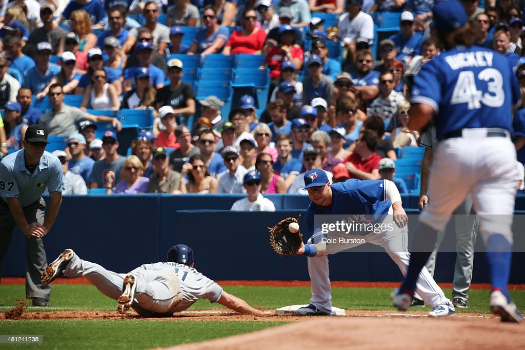 Toronto Canada July 18 Toronto Blue Jays first baseman Justin Smoak looks to tag out Tampa Bay Rays second baseman Logan Forsythe during MLB action...