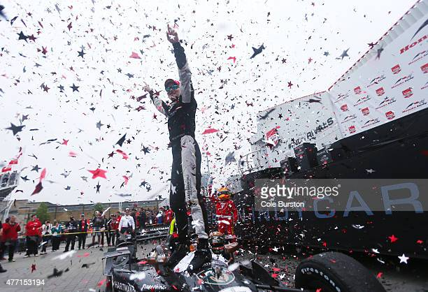 Toronto Canada June 14 Josef Newgarden of Tennessee emerges from his car to celebrate his Verizon IndyCar Series victory on Sunday June 14 on Race...