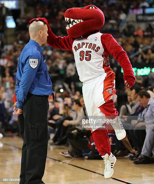 Toronto Canada March 23 In first half action The Raptor says hello to one of his security guard friends The Toronto Raptors took on the Atlanta Hawks...