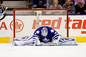 Toronto Canada November 4 2015 In the dying moments of the game Toronto Maple Leafs goalie James Reimer sits dejected in his net as the winning goal...