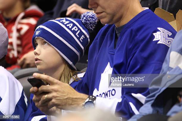 Toronto Canada November 4 2015 In third period action a Leaf fan watches the game The Toronto Maple Leafs lost to the Winnipeg Jets 42 at the Air...