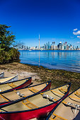 City of Toronto View from Toronto Island Park Lake Ontario summer time , Ontario , Canada