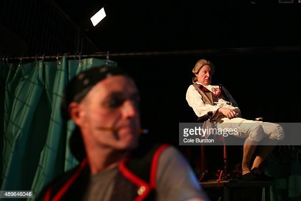 Toronto Canada September 15 Diego Matamoros playing Marquis de Sade sits on the stage during a rehearsal for Soulpepper's major production Marat/Sade...