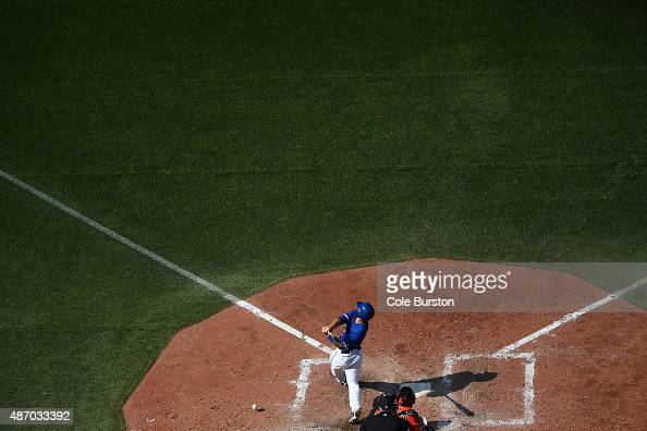 Toronto Canada September 5 Toronto Blue Jays catcher Russell Martin hits a foul ball during baseball action against the Baltimore Orioles at the...