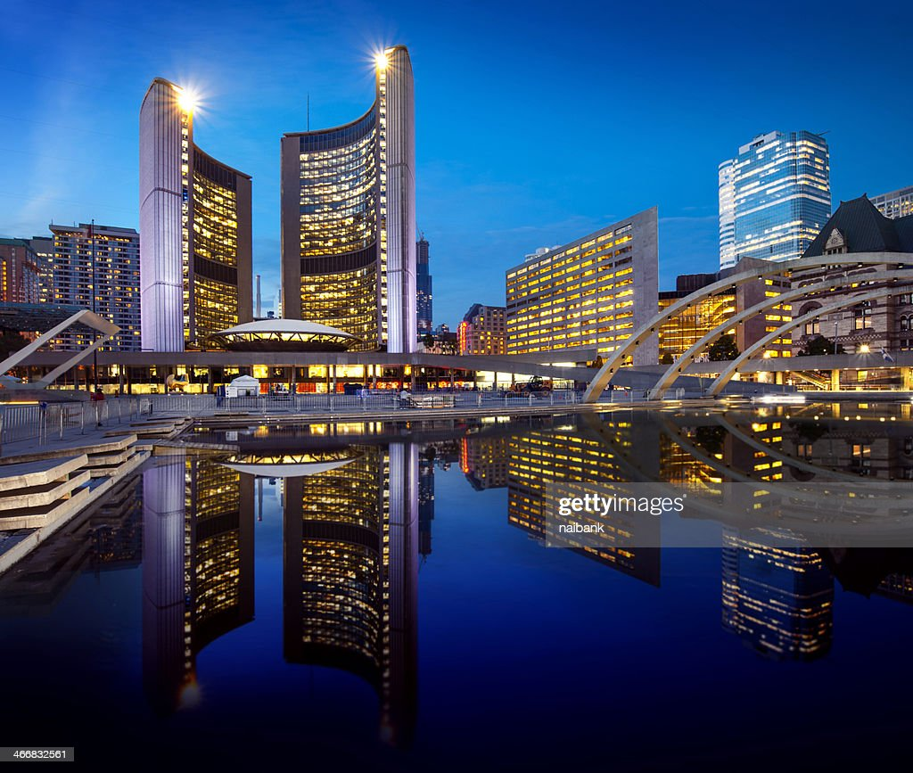Toronto city hall and its reflection