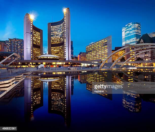 Toronto city hall and its reflection