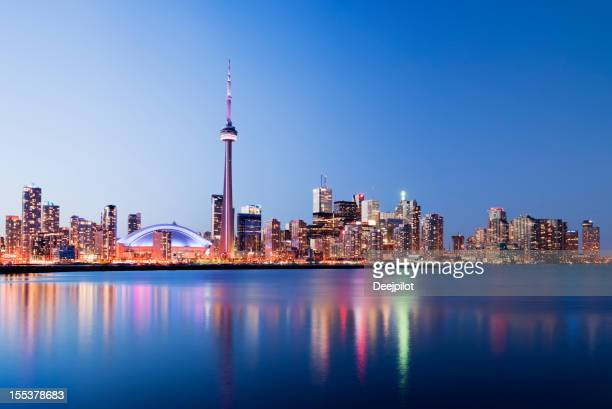 Toronto City Skyline at Night in Canada