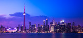 A view of downtown Toronto at dusk, as seen from the Toronto Islands.