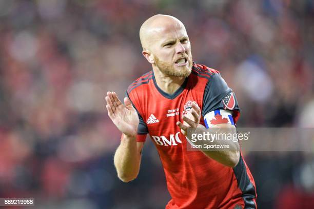Toronto FC Captain Michael Bradley celebrates his team's MLS Cup win after the defeating the Seattle Sounders 20 December 09 2017 at BMO Field in...
