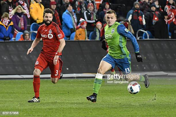 Toronto FC Defender Drew Moor chases Seattle Sounders Forward Jordan Morris during the MLS Cup final game between the Seattle Sounders and Toronto FC...