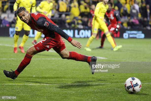 COLUMBUS OH NOVEMBER 21 Toronto FC defender Justin Morrow chases a ball as the Toronto FC plays the Columbus Crew in the first leg of the MLS Eastern...