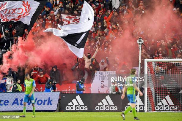 Toronto FC fans celebrate the team's first goal by Jozy Altidore during the MLS Cup Final played between the Seattle Sounders and Toronto FC December...