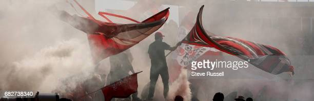 TORONTO MAY 13 Toronto FC fans cheer after Tosaint Ricketts's goal as Toronto FC beats Minnesota United 32 in MLS action at BMO Field in Toronto May...