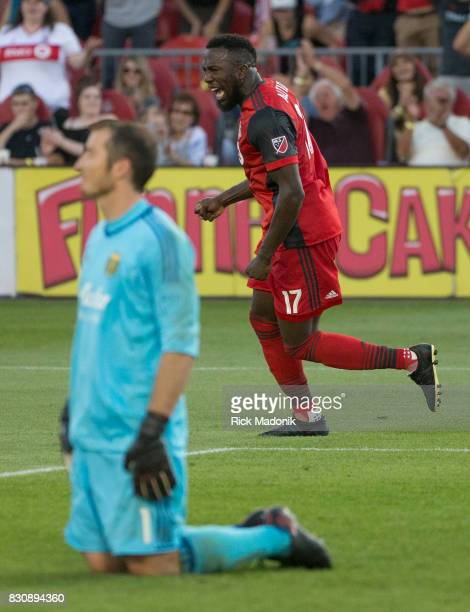 Toronto FC forward Jozy Altidore celebrates his goal after beating Portland Timbers goalkeeper Jeff Attinella TFC vs Portland Timbers during 2nd half...